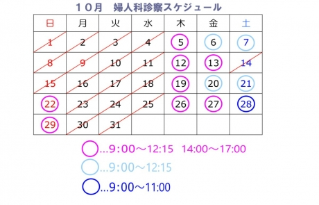 10月より婦人科 月2回 日曜日 診察行います。